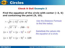 example 2 find the equation of the circle with center