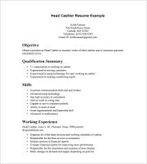 Sample Head Cashier Resume Template