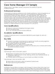 Write A Good Cv Template Resume Care Home Manager Sample