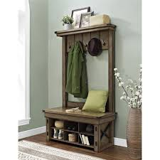 Hall Tree Entry Bench Coat Rack