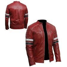 unique cafe racer men s classic biker vintage red leather jacket