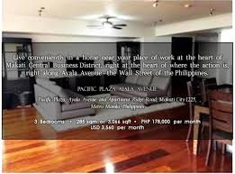 Condo Apartment For Rent At Pacific Plaza Ayala Avenue Makati Fully  Furnished 3 Bedrooms