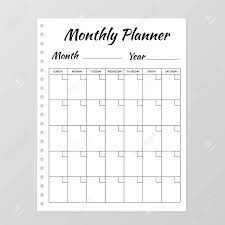 Planner Sheet Monthly Planner Template Blank White Notebook Page Isolated
