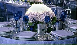 blue and silver table decorations