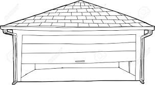 outline cartoon of partially open garage door stock vector 36830488