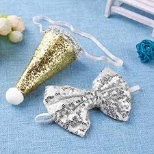 Glitter <b>Sequin Dog</b> Cone Hat <b>Bow</b> Tie Collar Set Bowknot <b>Christmas</b> ...