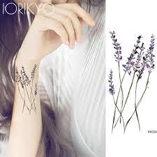 Iorikyo для женщин свен лаванды временные татуировки наклейки цветок филиал девушки