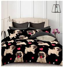 black and white duvet covers. Simple Black Black Pug Printed Bedding Sets Heart Dog Duvet Cover Set 2Bed Double  Queen Quilt Bed Linen No Sheet Filling Cotton Comforter White  Inside And Covers