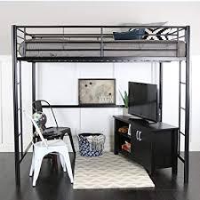 WE Furniture Full Size Metal Loft Bed, Back