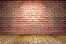 Empty Room Of Old Red Brick Wall Perspective Brown Wooden Floor