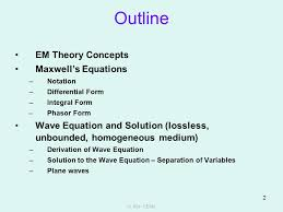 outline em theory concepts maxwell s equations
