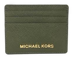 michael kors jet set travel large saffiano leather card holder olive com