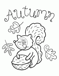 Small Picture Fall and Funny Squirrel coloring pages for kids fall leaves