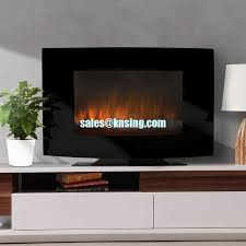 35 curved wall mounted electric fireplace heater with base stand led flame effect pebbles fuel tv style ef 11a
