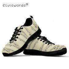 <b>ELVISWORD</b> Sheet Music Sneakers Printing <b>Women</b> Mesh Flats ...