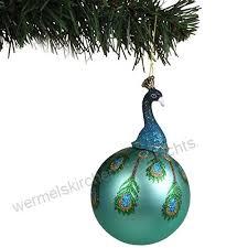 Glas Weihnachtsbaumkugel Pfau 135x8cm Christbaumschmuck
