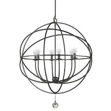 wrought iron orbit chandelier large  shades of light