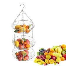 3 tier wire hanging basket fruit vegetable organizer storage kitchen counter 43