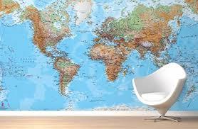 physical world map wall mural wallpaper 764x500