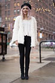 street style faux fur and jeans