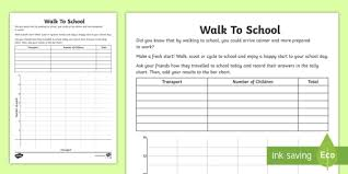 Walking Chart Free Ks1 Walk To School Bar Chart Worksheet Worksheet