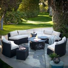 meridian 6 piece patio dining set living meridian all weather wicker fire red pit conversation set