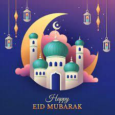 fröhlicher eid mubarak gruß mit moschee und laternen 2206429 Vektor Kunst  bei Vecteezy