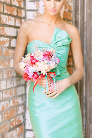 Adorable mint bridesmaid dress with a bow. Photo by Ben Q Photography. www.