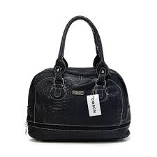 Coach Madison In Embossed Medium Black Satchels DFD larger image