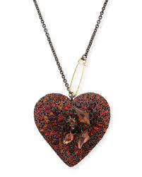 alexis bittarlucite double sided crystal heart necklace black cherry