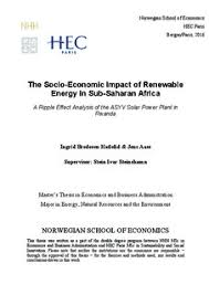 the socio economic impact of renewable energy in sub saharan  the socio economic impact of renewable energy in sub saharan africa a ripple effect analysis of the asyv solar power plant in rwanda