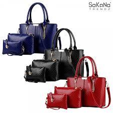 sokano trendz skn823 classic premium pu leather elegant tote bag set of 3 handbeg wanita women fashion