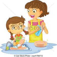 boy washing dishes clipart. Interesting Clipart Illustration Of A Girls Washing Plates On White Background Vector With Boy Washing Dishes Clipart T