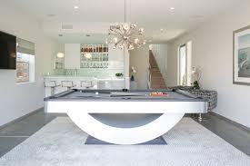 contemporary family room with descent sputnik chandelier