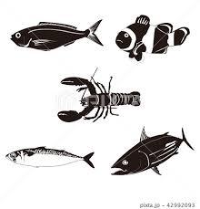 海の生物シルエットのイラスト素材 42992093 Pixta