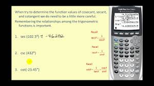 determining trigonometric function values on the calculator