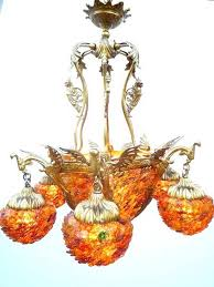 chandelier dragon colored height 80 cm bronze and glass flowers