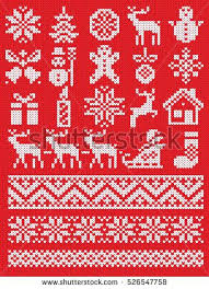Christmas And New Year Red And White Knitting Pattern