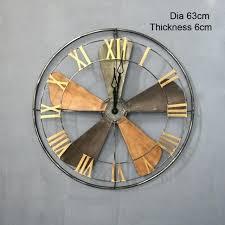 large industrial style metal fan wall clock roman numeral shabby vintage skeleton