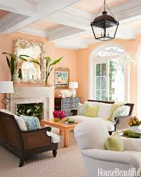 ... Living Room Color Ideas Magnificent Design Peach Wallpaper Rectangle  Wooden Coffee Table White Fabric Sofa Potted ...