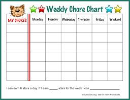 Free Weekly Chore Chart Fun Tiger Weekly Chore Charts
