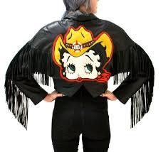 vintage black leather jacket with fringe betty boop