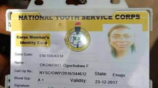 nysc id card front and back replacement of nysc id card