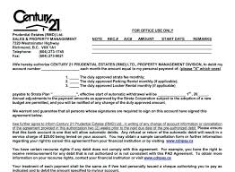 automatic withdrawal form template rental forms documents century prudential estates property lease