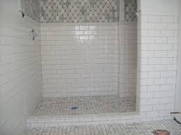 awesome shower floor tile ideas of marble with ceramic subway on the walls