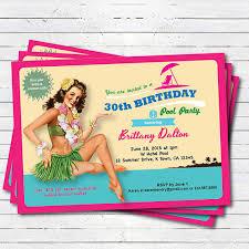 Hawaiian Pool Party Invitations Hawaii 30th Birthday Pool Party Invitation Vintage Pin Up Girl