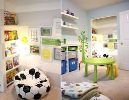 kids reading nook with soccer bean bag