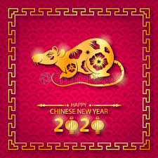 chinese new year card 2020 stock vector happy chinese new year 2020 card with golden rat zodiac
