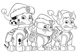 Small Picture Paw Patrol Christmas Party Free Coloring Page Animals Kids Paw