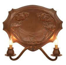 california school arts crafts two light sconce hammered copper 19 5